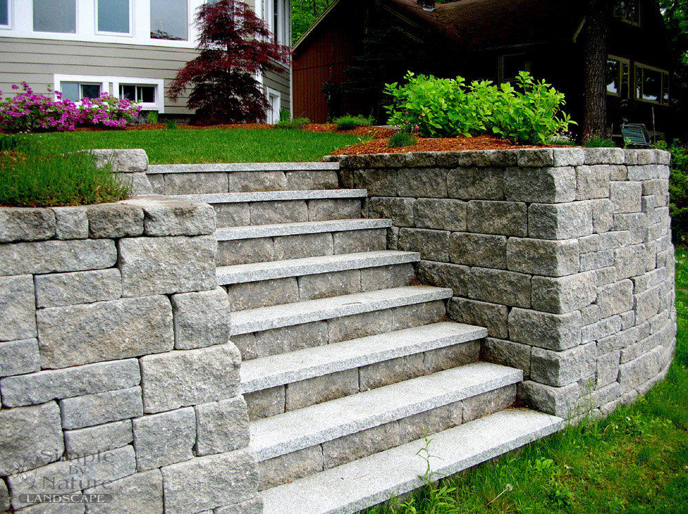 Stone patios walls walkways simple by nature landscape for Pictures of stone steps